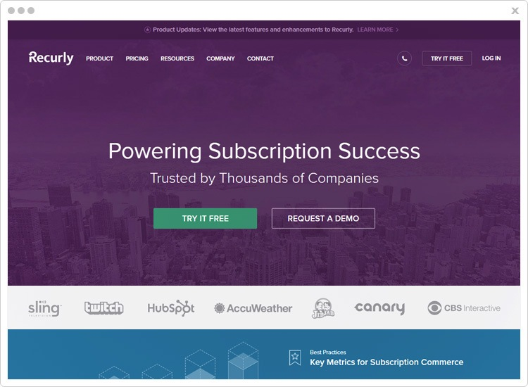 Recurly subscription management software