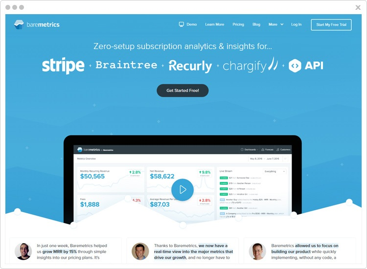 Payment Analytics Tool by Baremetrics