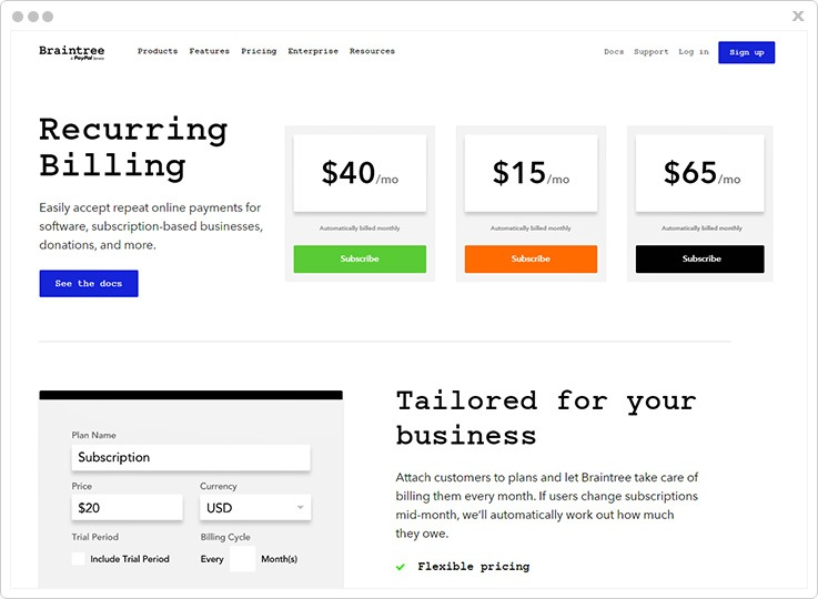 Cheap Subscription Billing Software by Braintree