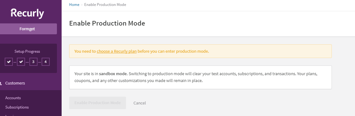 Go live-enable production mode