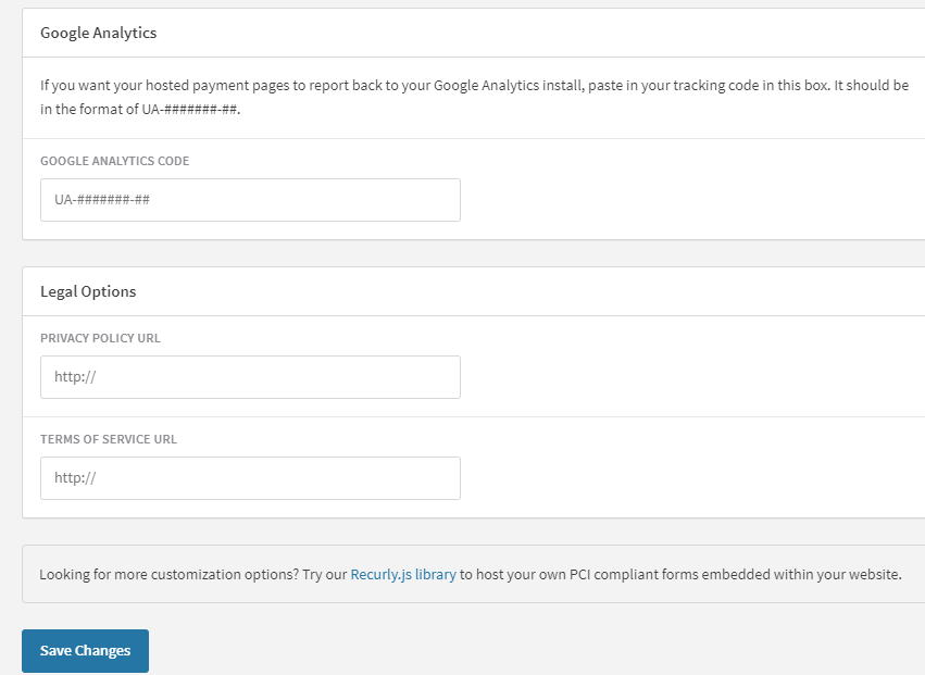 Hosted page settings-google-analytics