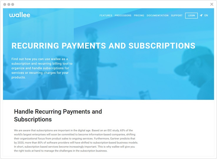 Wallee Top Recurring Billing API Software
