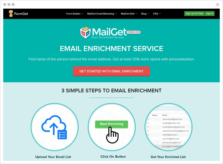 MailGet Enricher Profile Search Engine