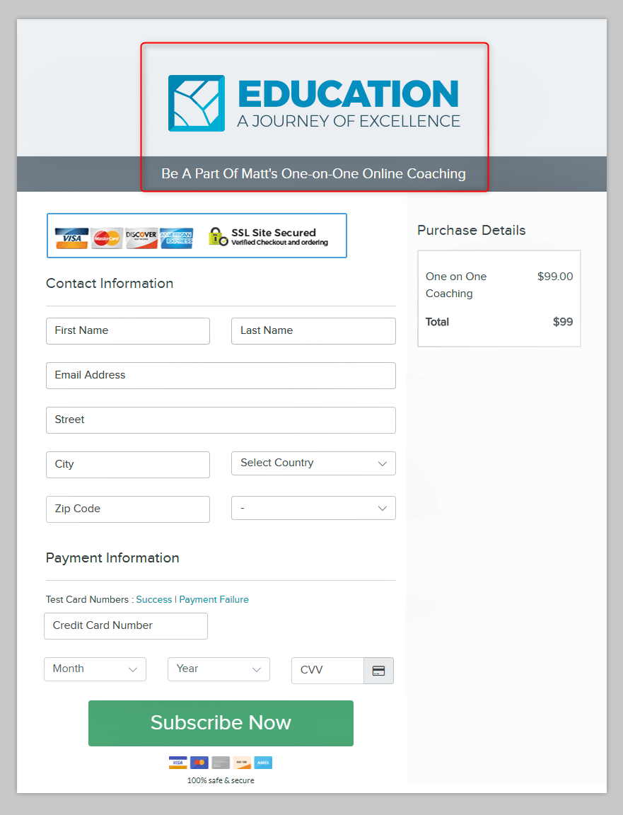 Custom Checkout Page