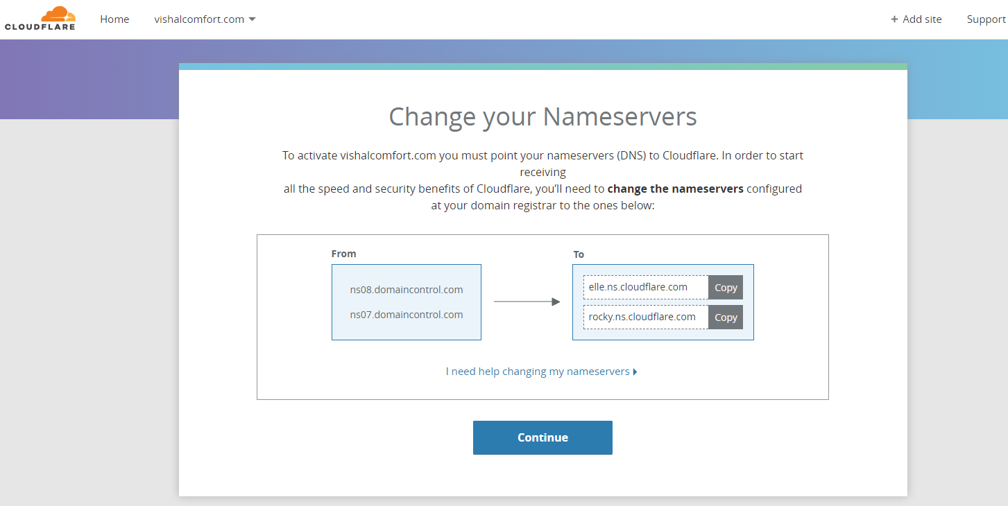 Change your nNameServer - SSL Custom Domain