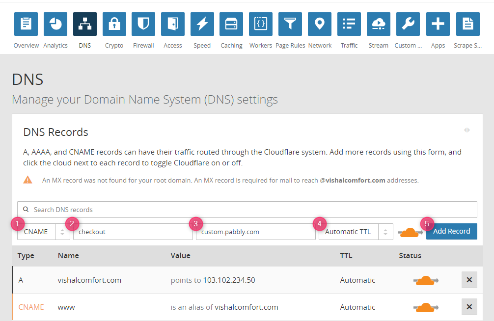 Pabbly Subscriptions - Custom Domain - DNS Settings