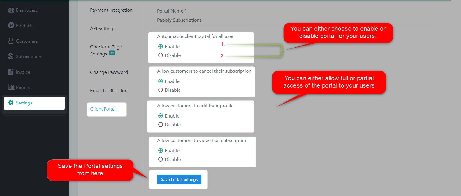 Settings Client Portal