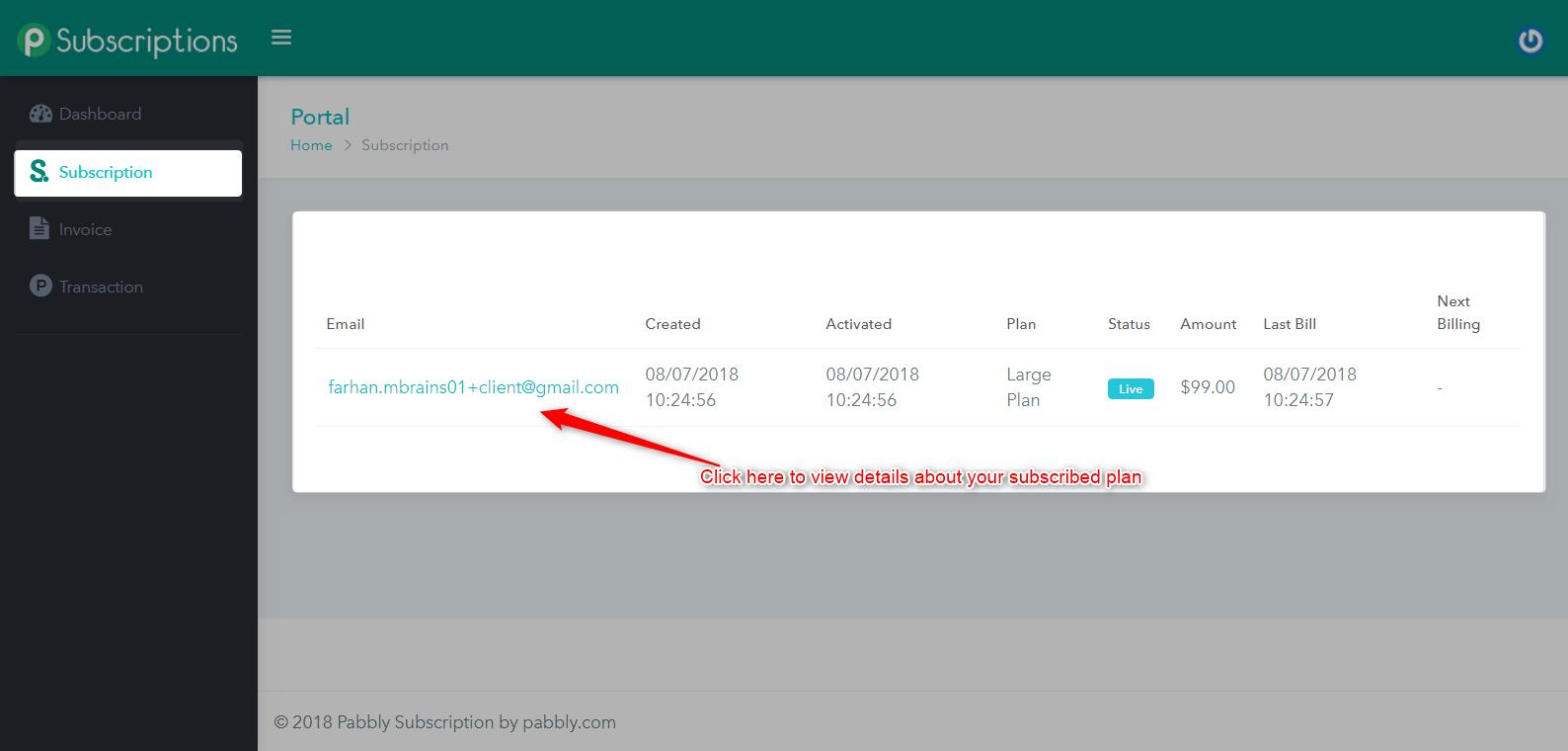 Subscriptions detail client portal