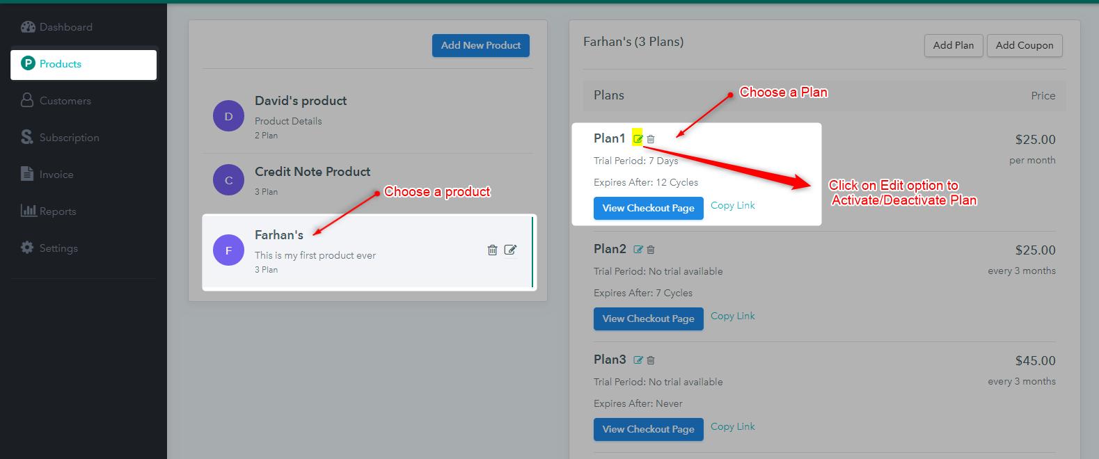 Activate - Deactivate - Select Plan