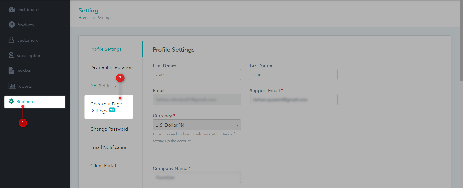 Settings - Checkout Page Settings