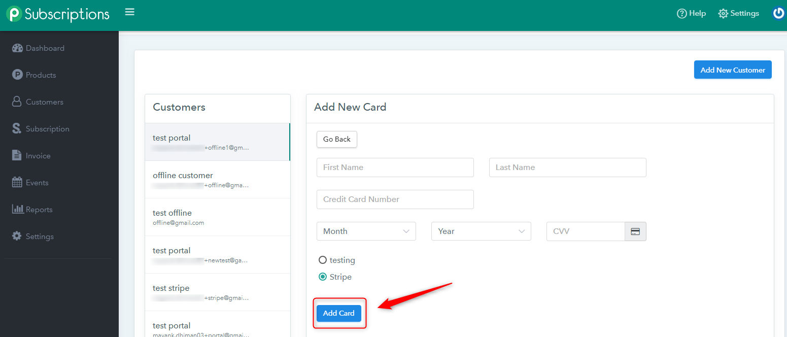 Pabbly Subscriptions add card details