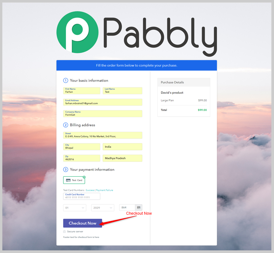 Pabbly Subscriptions-Checkout page