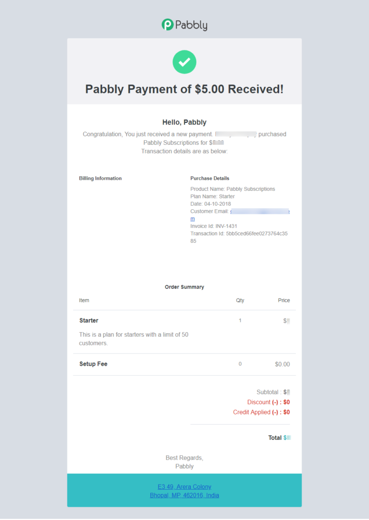 Successful Payment Notification To Merchant