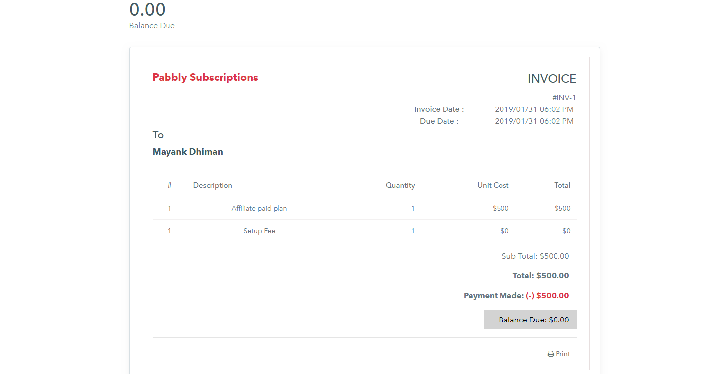 Pabbly Subscriptions Invoicing