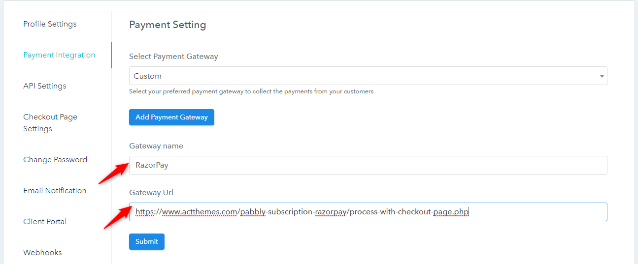 Pabbly Subscriptions Custom payment gateways