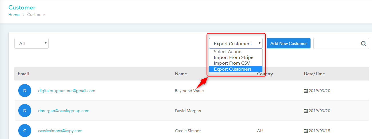 Pabbly Subscriptions customer export