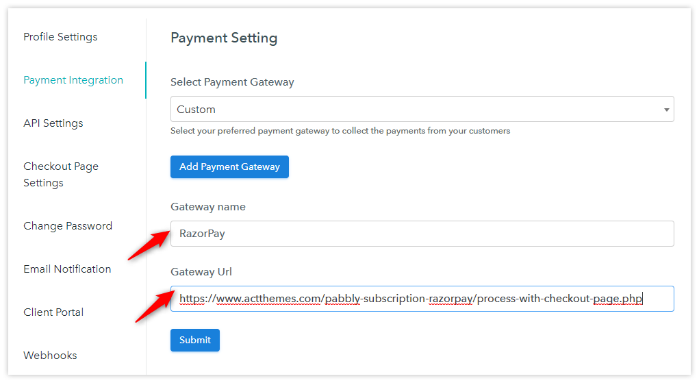 Pabbly Subscriptions Custom gateway