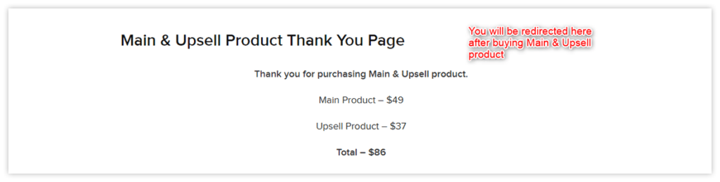 Main & upsell Product Thanks Page