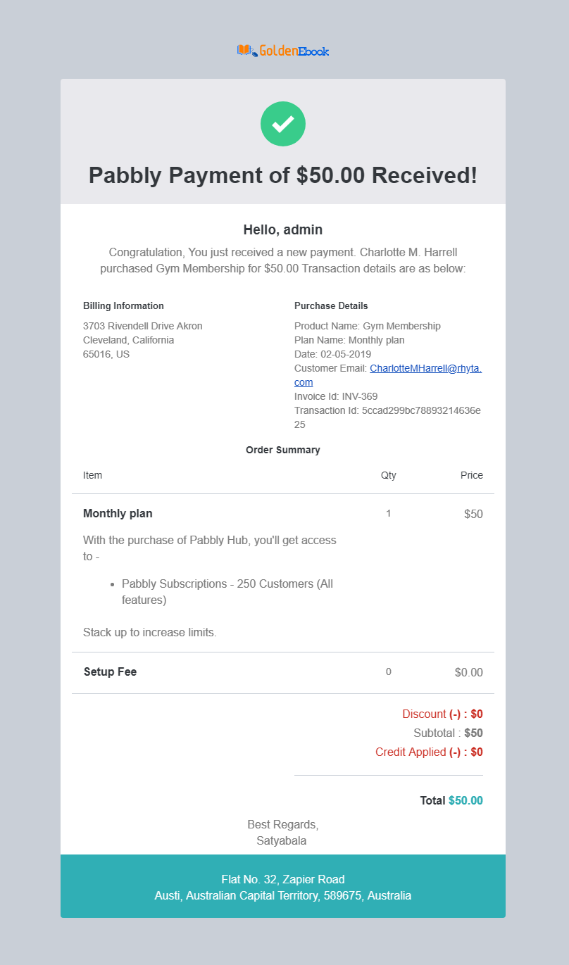 Pabbly Subscriptions email notification