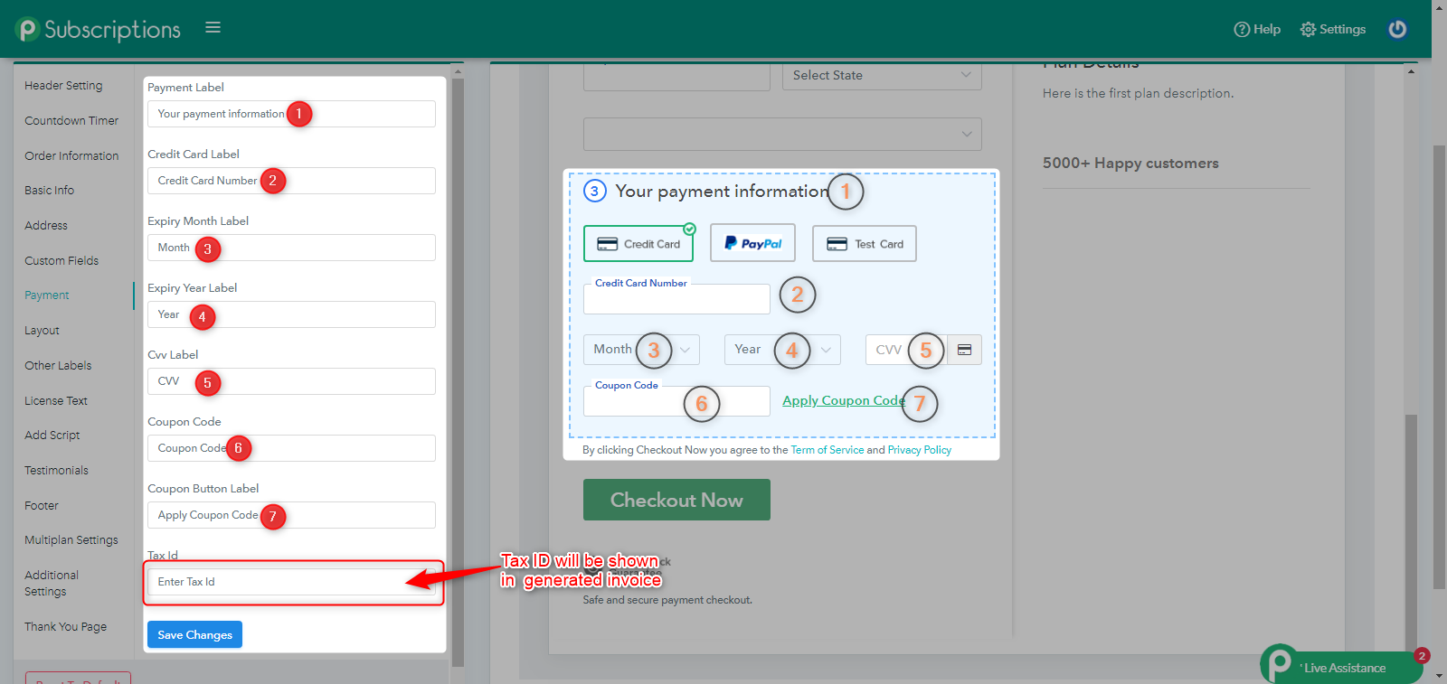 Payment Information Setting