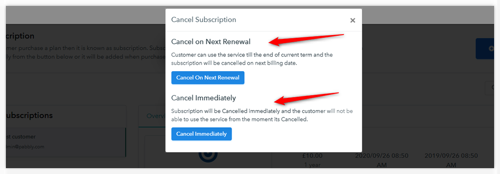 Pabbly Subscriptions Cancel Subscription
