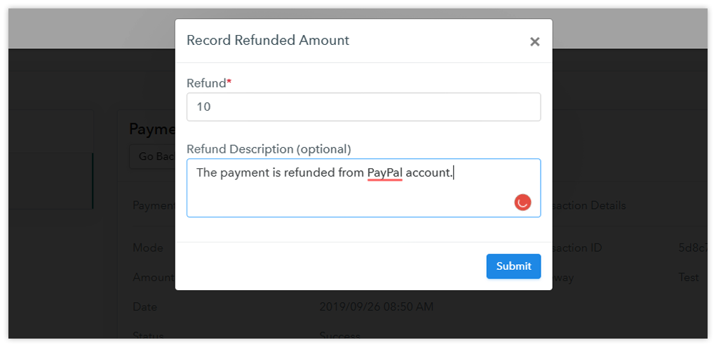Pabbly Subscriptions Record Refund