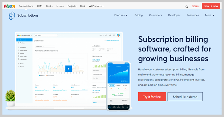 Zoho Subscriptions- Recurring Billing Software