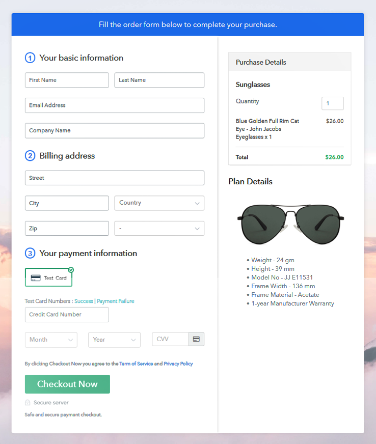 Checkout Page Preview to Sell Sunglasses Online