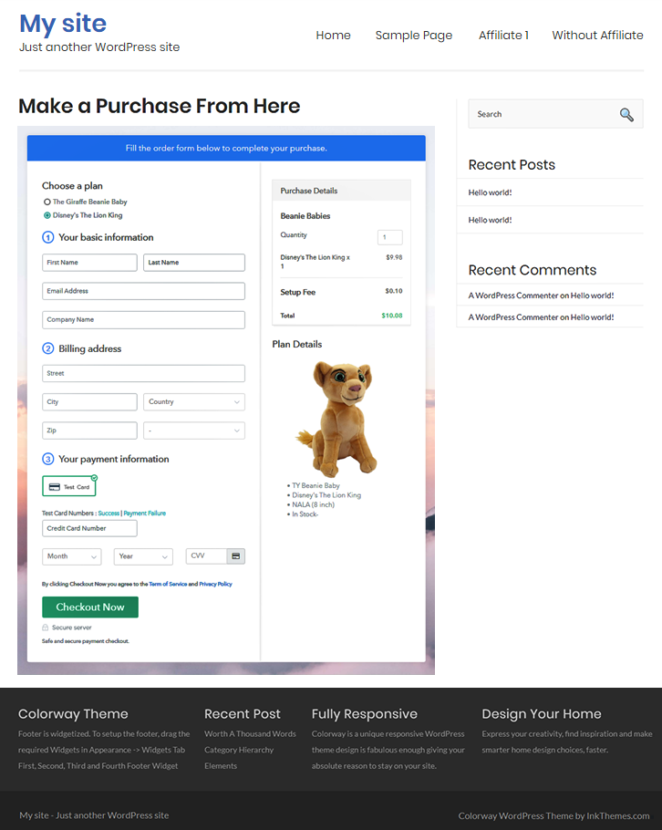 Checkout Page On Site to Sell Beanie Babies Online