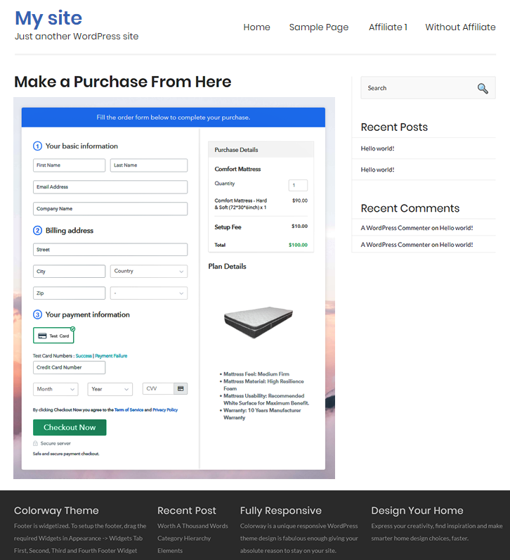 Final Look of your Checkout Page