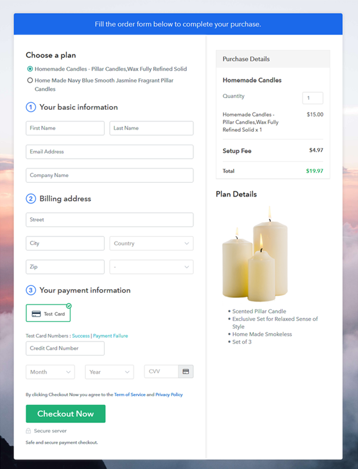 Multiplan Checkout Page - Start Candles Buisness Online