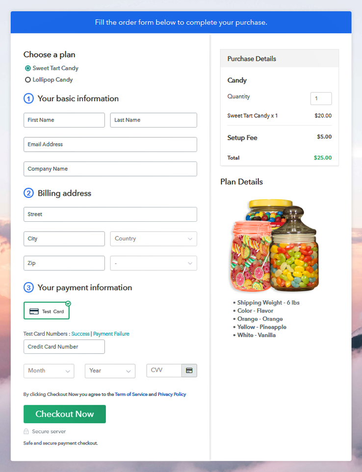 Multiplan Checkout Page to Start Candy Business Online