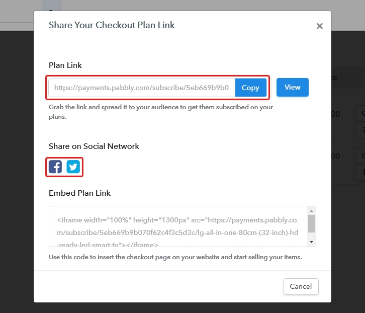 Share Checkout Page on Social Media