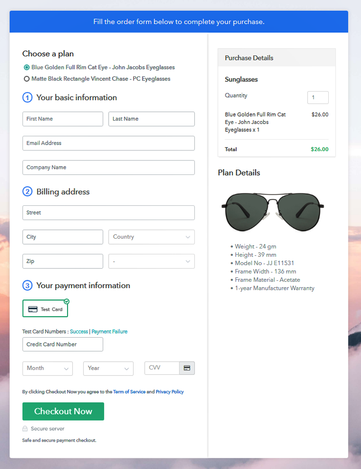 View Multiplan Checkout Page