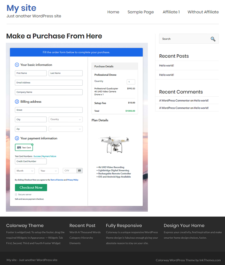 Final Look of your Checkout Page to Sell drone Online