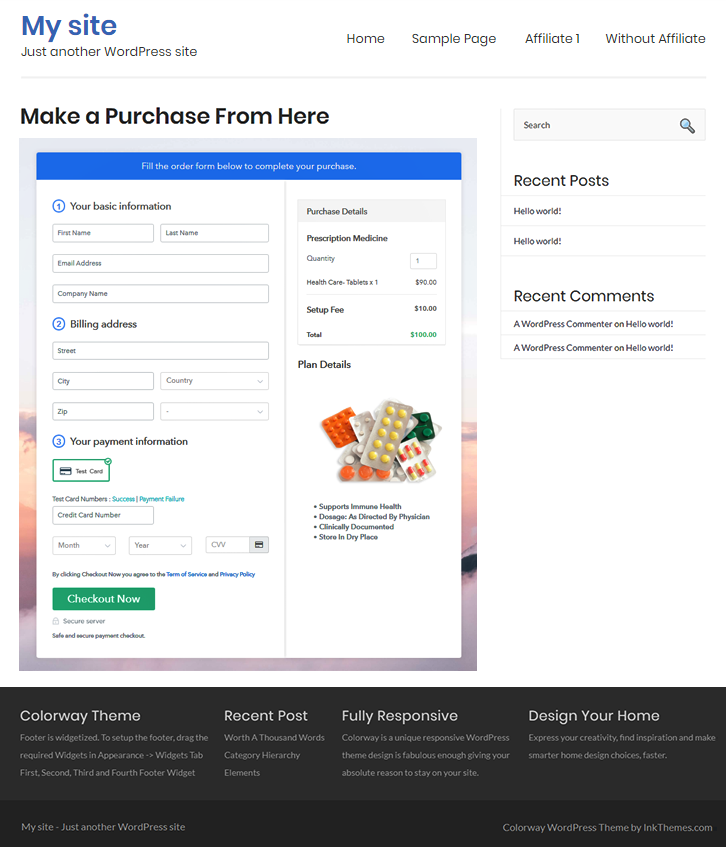 Final Look of your Checkout Page to Sell Medicine