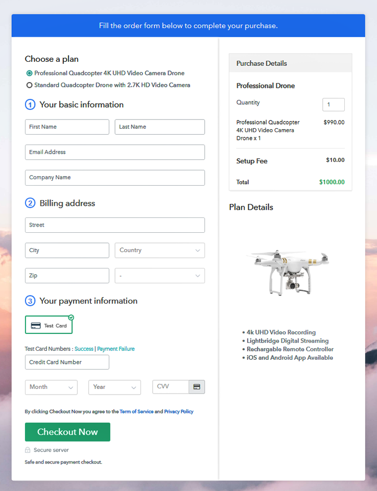 Multiplan Checkout Page to Sell Drone