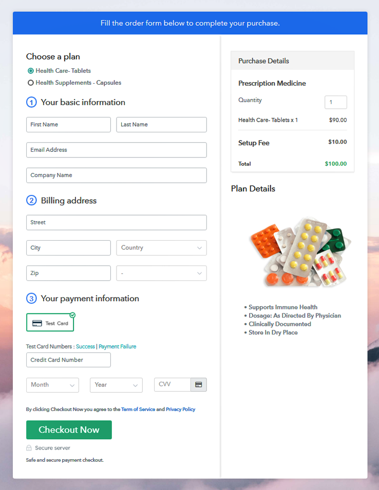 Multiplan Checkout Page to Sell Medicine Online