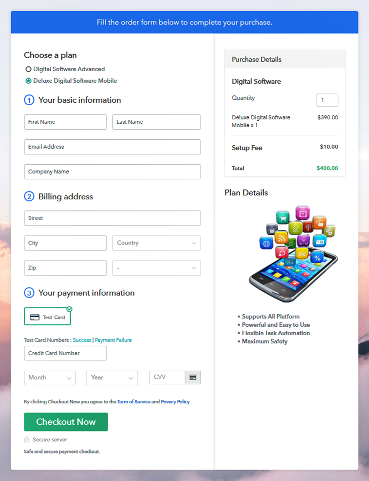 Multiplan Checkout Page to Sell Software Online