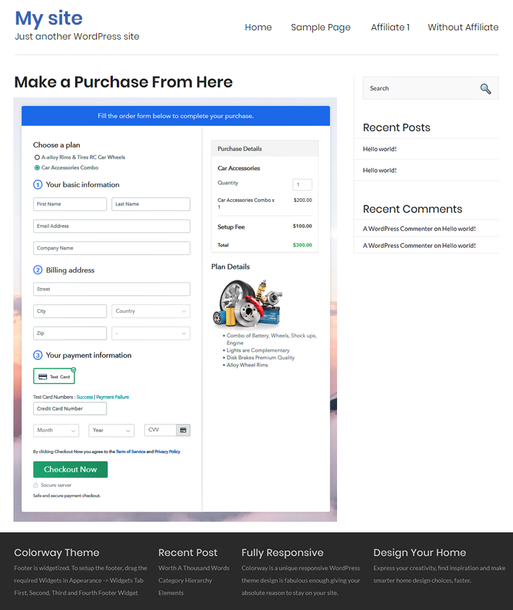 Multiplan Checkout Page to Sell Auto Parts Online