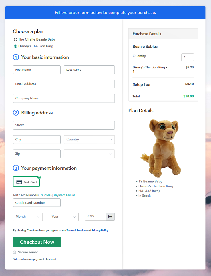 Multiplan Checkout Page to Sell Beanie Babies Online