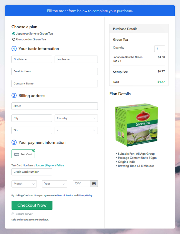 Multiplan Checkout Page to Sell Tea Online