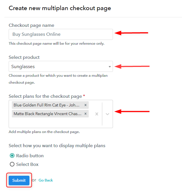 Create Multiplan Checkout - Selling Sunglasses Online