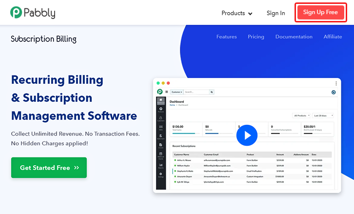 Signup in Pabbly Subscription Billing