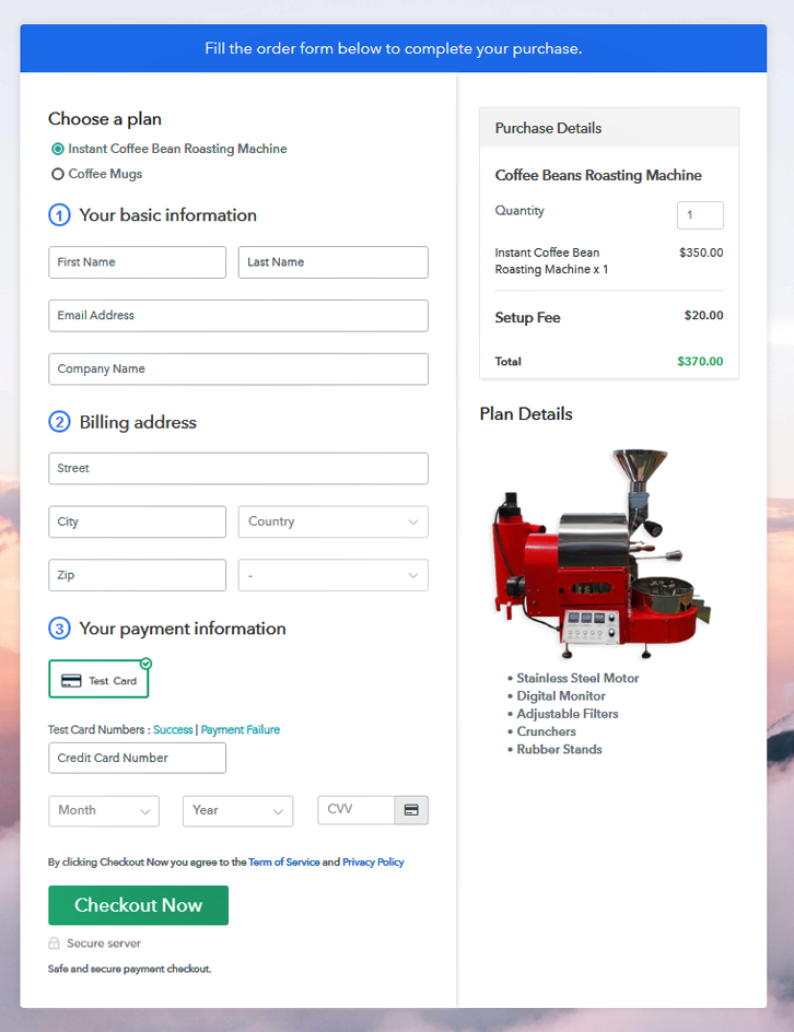 multiplan Checkout of Coffee Beans Roasting Machine Online