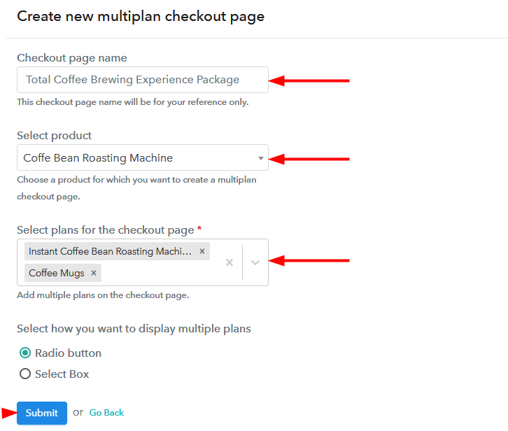 creating multiplan checout page