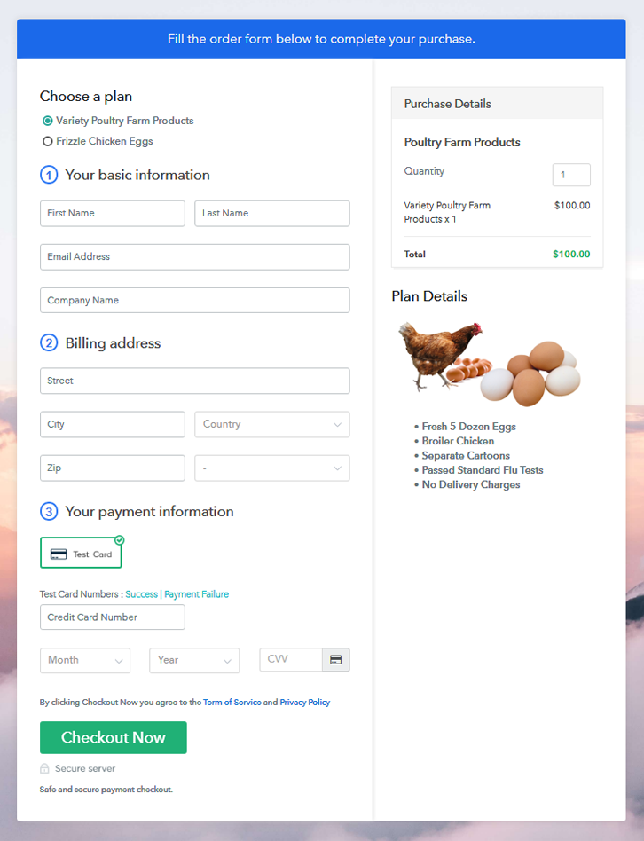 multiplan checkout to sell poultry farm products online