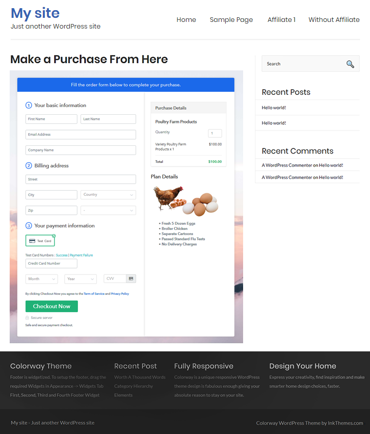 embedding checkout to sell poultry farm products online
