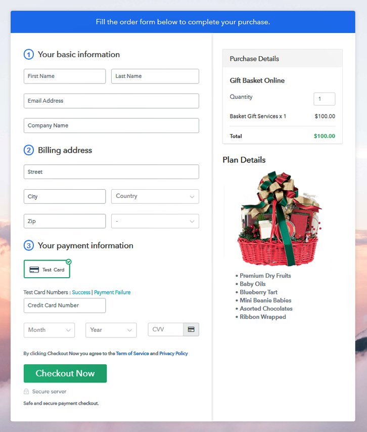 Final Checkout Page Gift Basket Services Online