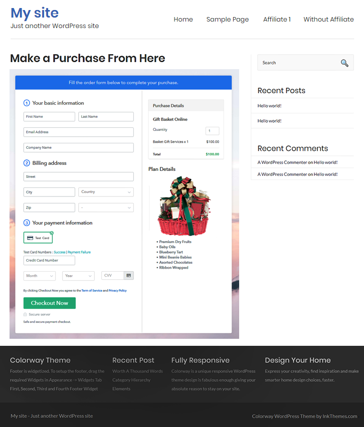 Embedding Checkout Page to Sell Gift Basket Services Online